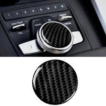 Carbon fiber car interior, central control knob decoration, Suitable For Audi A4 B9 2017 2018 2019 stickers,