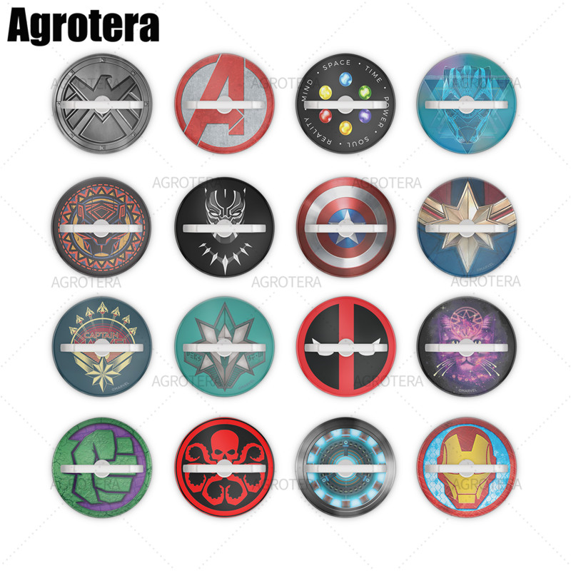 Agrotera Finger Ring Phone Holder Stand And Grip For Smartphones And Tablets Captain America Shield Marvel Icon Logo Teal