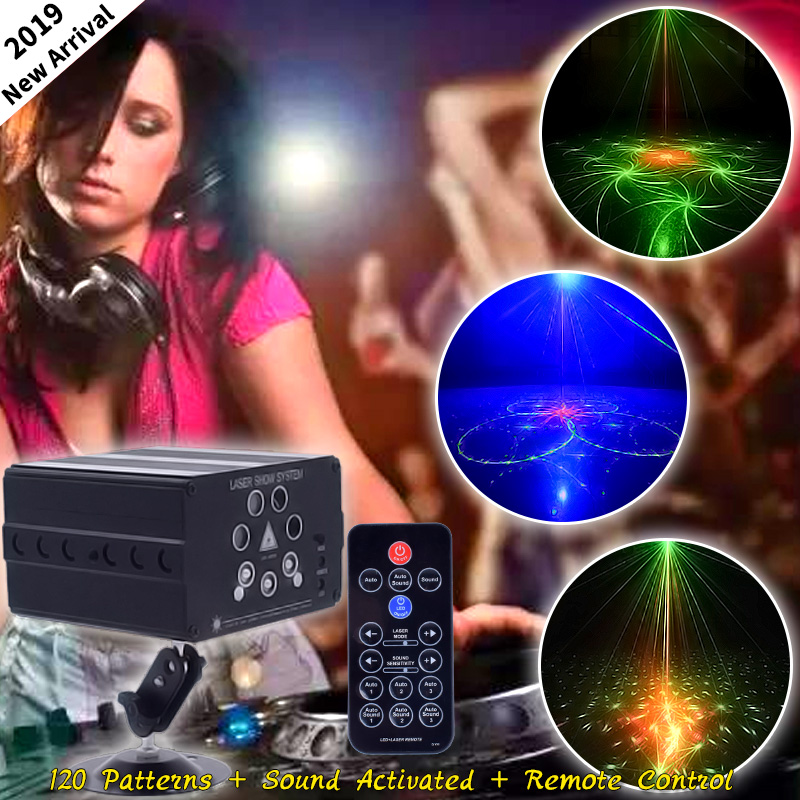 WUZSTAR 120 Patterns Stage Lighting Effect Sound Activated 7 Beam Laser Projector Stage For Wedding DJ Dance Home Party Club