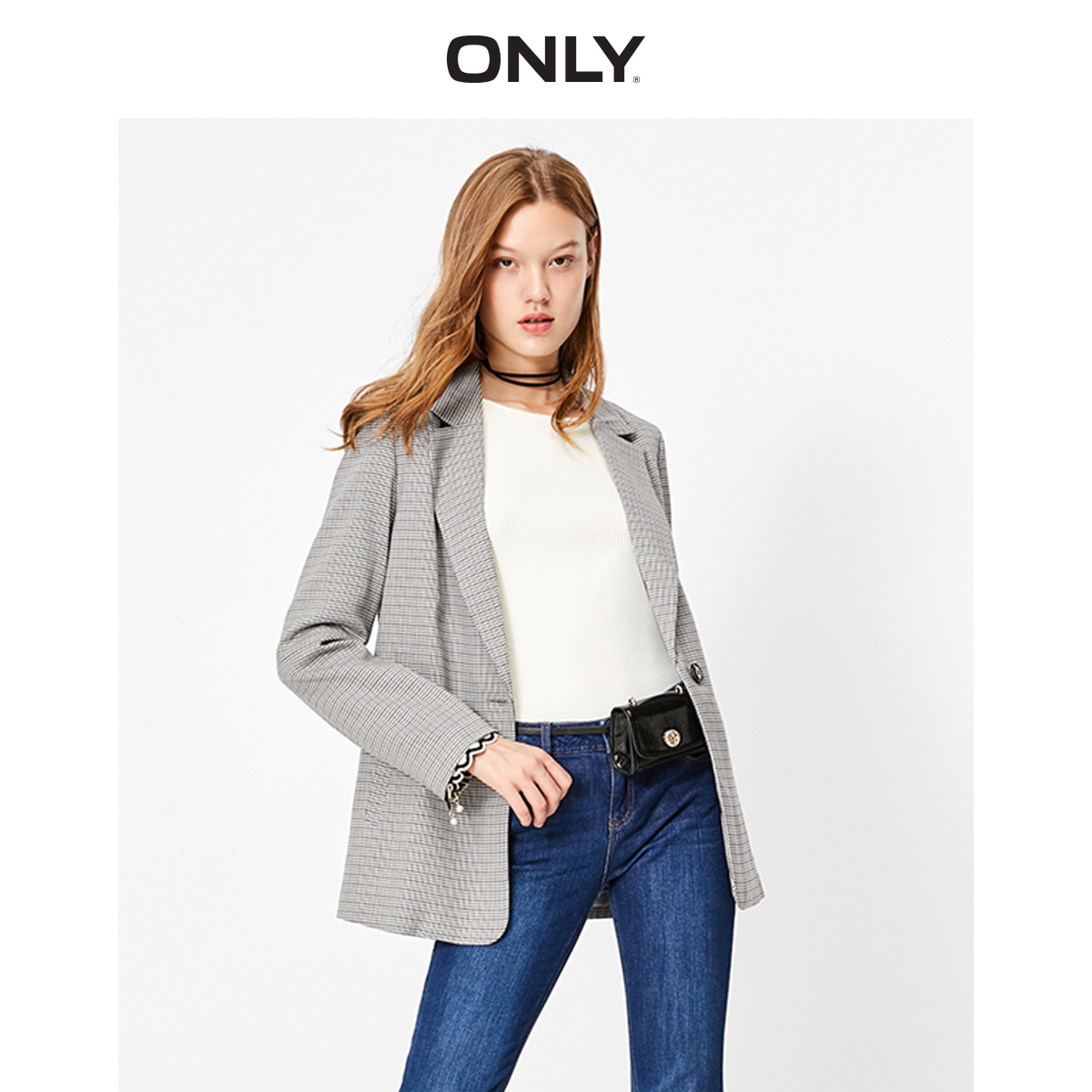 ONLY Women's  Straight Fit Thin Houndstooth Blazer | 119308530