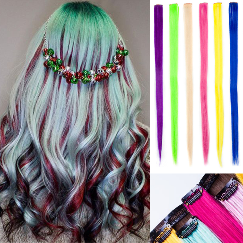 20 Inch Colored Highlight Long Straight Rainbow Hair Clip-In One Piece Ombre Hair Extension Synthetic Hair Strands On Clips