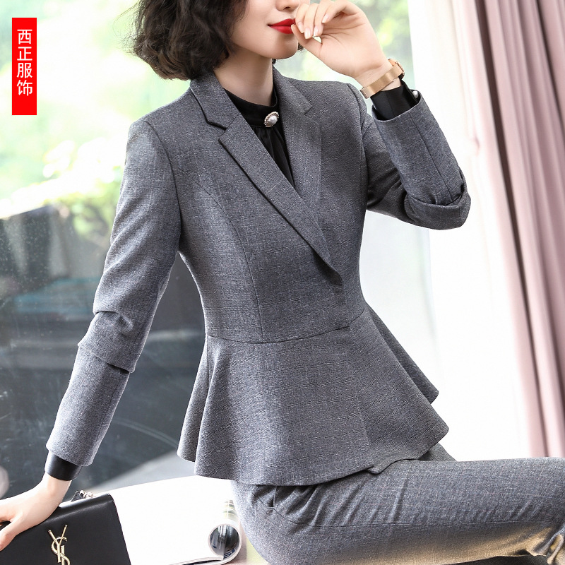 2019 New Style Stand Collar Suit WOMEN'S Suit-Style Slim Fit England Women's Wear Flaxen Grey Suit Formal Wear Interview