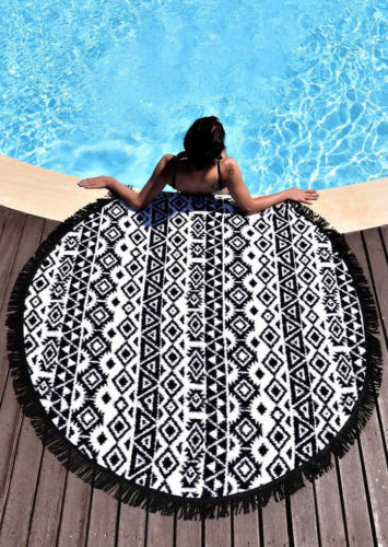 Chic Summer Indian Mandala Round Throw Yoga Tapestry Hippy Boho Gypsy Tablecloth Beach Towel Blanket Circle Picnic Carpet Mat