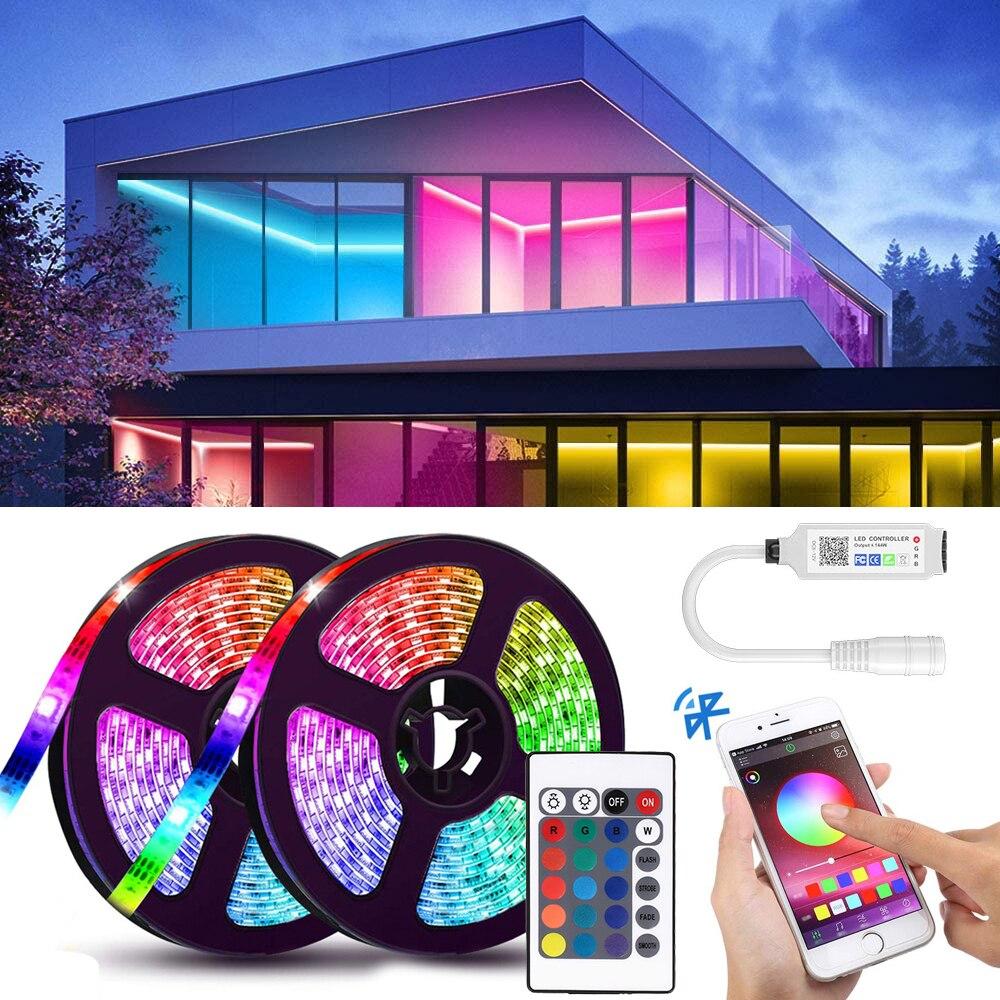 Умная светодиодная ленсветильник, 5 м, 10 м, 15 м, 20 м, Bluetooth, дистанционное управление через приложение, лента 5050 RGB, цветсветильник световая лен...