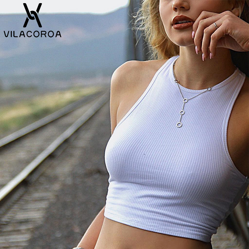 White Knitted Round Neck Women T-shirt Sexy Sleeveless Camisole Crop Top Woman Tight Stretch Tank Top Ladies Tee Top Streetwear