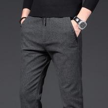 Pants Men Business Straight Cotton Trousers Stretch Man Elastic Slim Fit Casual Big Plus Size 38 Black Grey Blue Pant