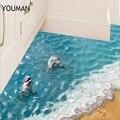 Обои Youman 3D Дельфин наклейки на пол красивые море милые водонепроницаемые ПВХ ванная комната Домашний декор экологически чистые дети ребено...