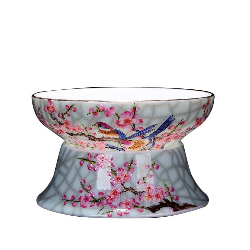 Tea Filter Jingdezhen Teaware Accessories Ceramic Porcelain Tea Strainer Flower Bird Tea Leak for Coffee Milk Crafts Decoration