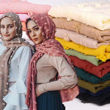 Pom COTTON hijab scarf plain soft ball shawls muslim scarves headscarf solid color wraps Turbans headband scarves 22 color
