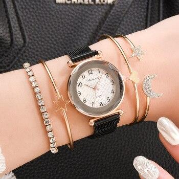 Top Brand Star Watch For Women Rose Gold Mesh Magnet Starry Sky Quartz Wristwatch Gradient Ladies Wrist Watches Relogio A3776