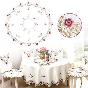 Rosa redondo mantel Beige bordado manteles mesa cubierta suministros de cocina casera Decoración de mesa