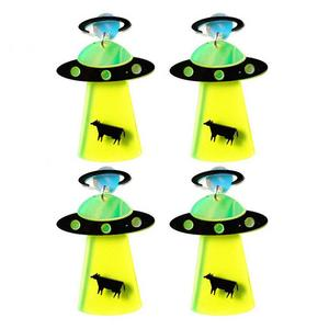 2 Pairs Unique Creative UFO Shaped Earrings Exaggerated Acrylic Earring Drop Earrings Jewelry for Women Girls Ladies