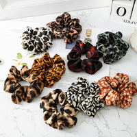 2021 Fashion Leopard Printing Scrunchie Women Elastic Hair Bands Women Girls Ponytail Holder Hair Rope Ties Hair Accessories