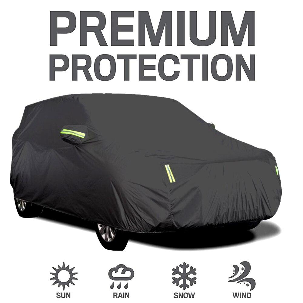 5 größen Auto Abdeckung Volle Limousine Deckt Polyester mit 6 Fluoreszierende Reflektierende Streifen Sonnencreme Wasserdicht Uv Universal