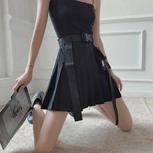 Уличная одежда NiceMix Cheerart, черная плиссированная юбка с поясом и вышивкой, черная трапециевидная юбка с высокой талией, Женская мини юбка в стиле панк рок на летоЮбки    АлиЭкспресс