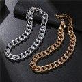 Модное золотое ожерелье-чокер в стиле панк с круглым кольцом, толстая цепь, ожерелье-воротник, эффектное ожерелье до ключиц для женщин и муж...