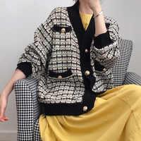 2019 otoño mujer Cardigan de punto de bolsillo de manga larga Beige verde cálido grueso abrigo a cuadros