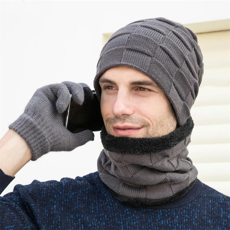 Winter Hat Scarf Gloves Men 3 Peice Set 2019 Man Outdoor Warm Knitted Plush Cap Scarves And Touchscreen Gloves Male Accessories