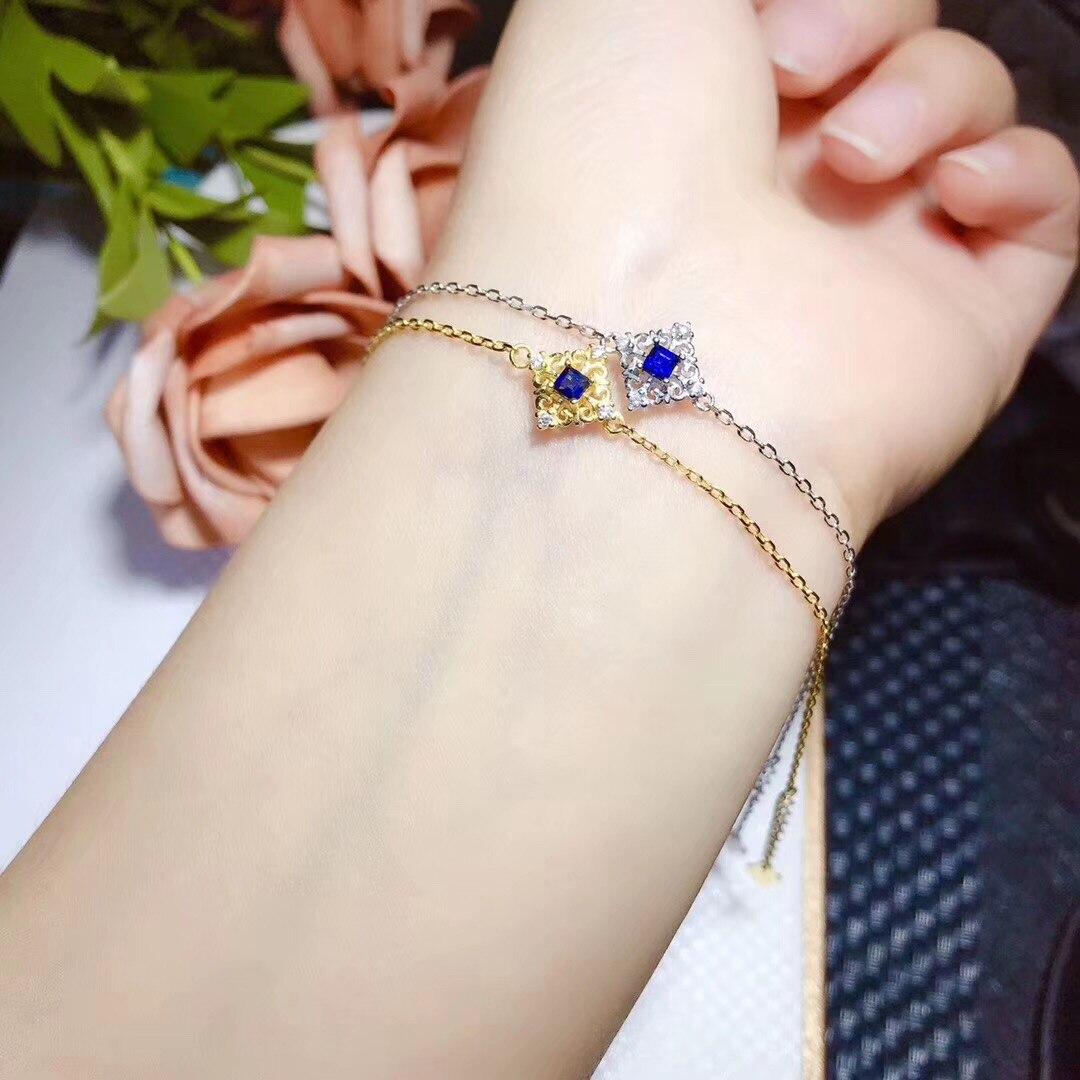 BOEYCJR 925 argent Sterling saphir élégant chaîne bijoux énergie pierre gemme Bracelet pour les femmes cadeau 2019