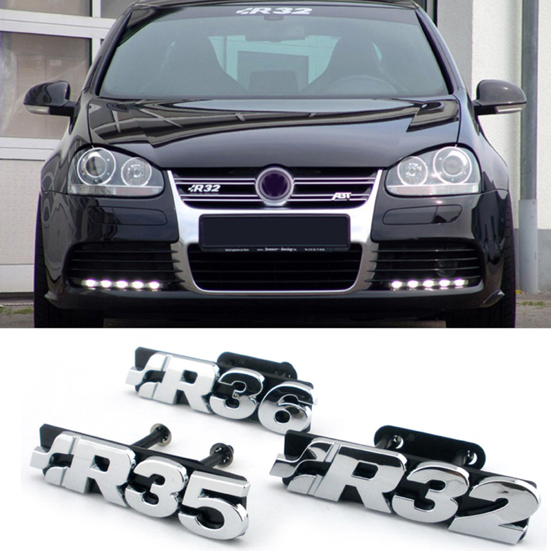 ABS 3d Sticker R32 R35 R36 For Volkswagen Golf 4 5 TDI Passat Rabbit Rear Trunk Boot Decal Chrome Front Grille Emblem Styling