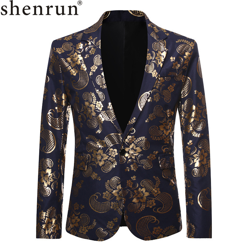 Shenrun Men Black Navy Blue Blazers Gold Floral Print Casual Jackets Wedding Groom Suit Jacket Singer Host Stage Costume Blazer