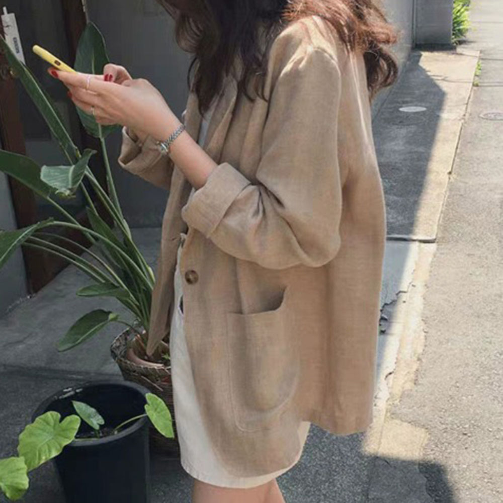 OL 2019 New Autumn Solid Color Casual Blazer Ladies Loose Plain Plain Chic Jackets Fashion Coat Plus Size XL Bleiser Feminino