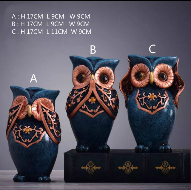 Owl Family Figurines Lovely Dancer Ornament Home Decor Creative Animal Crafts Home Decor Accessories  Wedding Gift for lovers 3