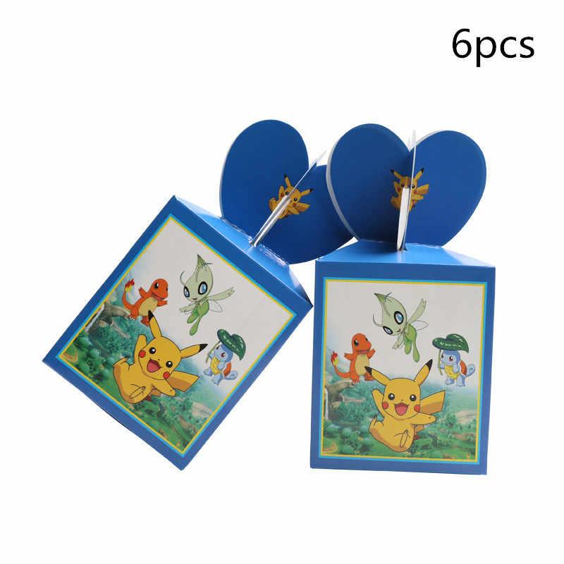6 개/몫 베이비 샤워 포케몬 피카추 종이 팝콘 상자 소년 아이 생일 파티 사탕 상자 웨딩 장식 용품 선물 상자