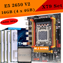 X79 Computer Motherboard Set X79 with Xeon E5 2650 V2 CPU max 16GB 4X 4GB DDR3 ECC REG 1600Mhz PCI-E NVME for gaming Server