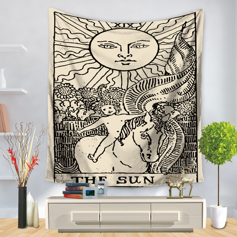 Image 4 - Tarot Card Tapestry Wall Hanging Astrology Divination Bedspread Beach Mat Decorative TapestryTapestry