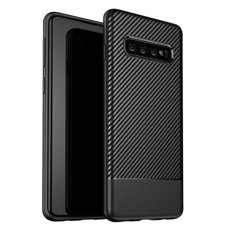For Samsung Galaxy S10 S10plus Cover Case Carbon Fiber Waterproof TPU Soft Rubber Cover Anti-Fall And Scratch Phone Cases