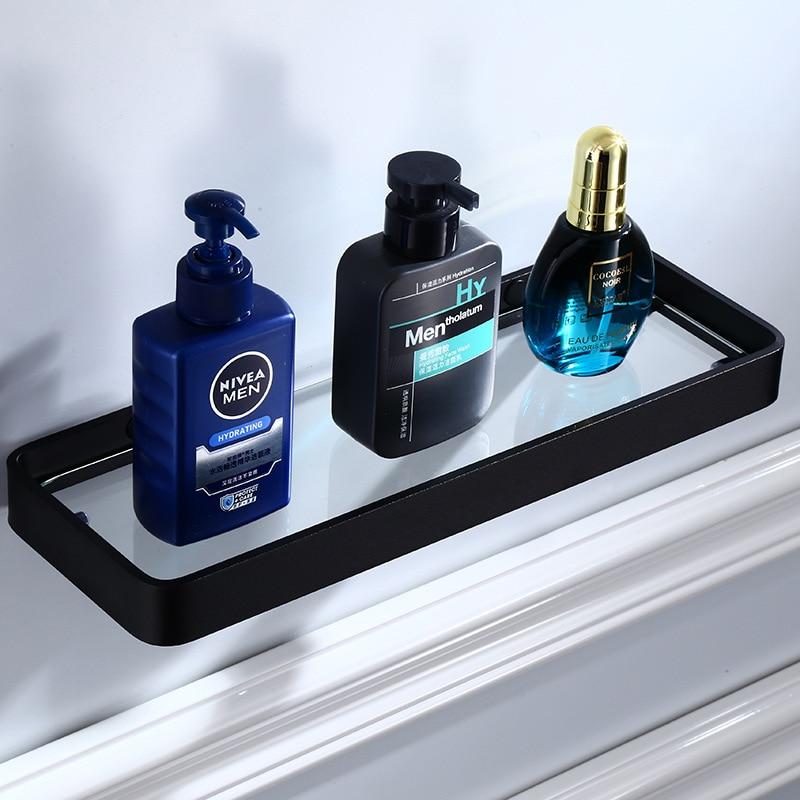 Tuqiu Glass Shelf,Square Bathroom Glass Shelves,Black Bathroom Shelf Aluminum 20CM 25CM 30CM 35CM 40CM 45CM Shower Room Rack