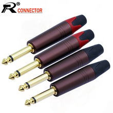 """10pcs 2 poles 6.35mm mono sophomore core amplifier microphone 6.35mm jack 1/4"""" mono male connector 6.3mm 6.5mm audio plug jack"""
