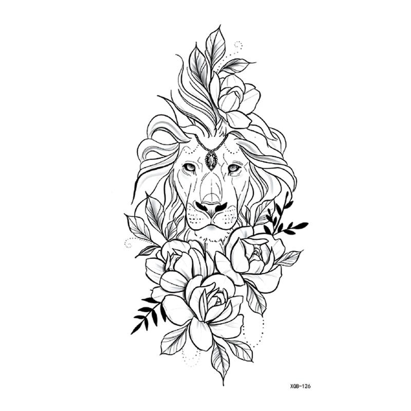 Lion And Flower Waterproof Temporary Tattoos Men Tattoo Body Art Cute Animals Henna Tattoo Sleeves Tatoo Sticker