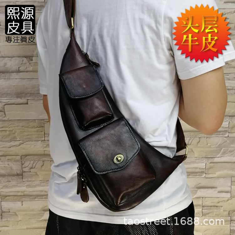 Guangzhou New Style Men Chest Pack Full-grain Leather Men's Bag Genuine Leather Hand-rub Color Fashion Shoulder Bag