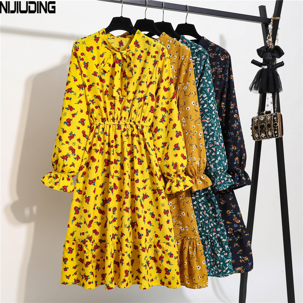 NIJIUDING Women Chiffon Dress 2020 Autumn Spring  Elastic Waist Long Sleeve Vintage Floral Print A-line Dresses Casual Vestidos