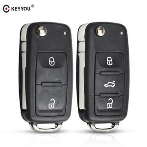 KEYYOU 2/3 buttons Folding Car key Switchblade Key Flip key Shell for VW polo passat b5 Tiguan Golf VOLKSWAGEN Seat Skoda(China)