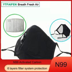 N99 Respirator Mask YTFAIFEN Anti Pollution PM 2.5 Pollution Smog Haze Smoke Respirator Masks Cotton Unisex N99 6 Layers Mouse Muffle for Dust