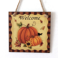 Halloween Harvest Hanging Rustic Pumpkin Sign Board Sunflower Wooden Plaque  Pendant for Home Decoration