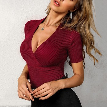 V Neck knitting t shirt femme Women Summer Sexy tight Casual Solid Daily Holiday