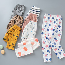 Children's Cotton Pajamas Pants Spring And Autumn Boys And Girls Cartoon Print Casual Elastic Waist Trousers WT184