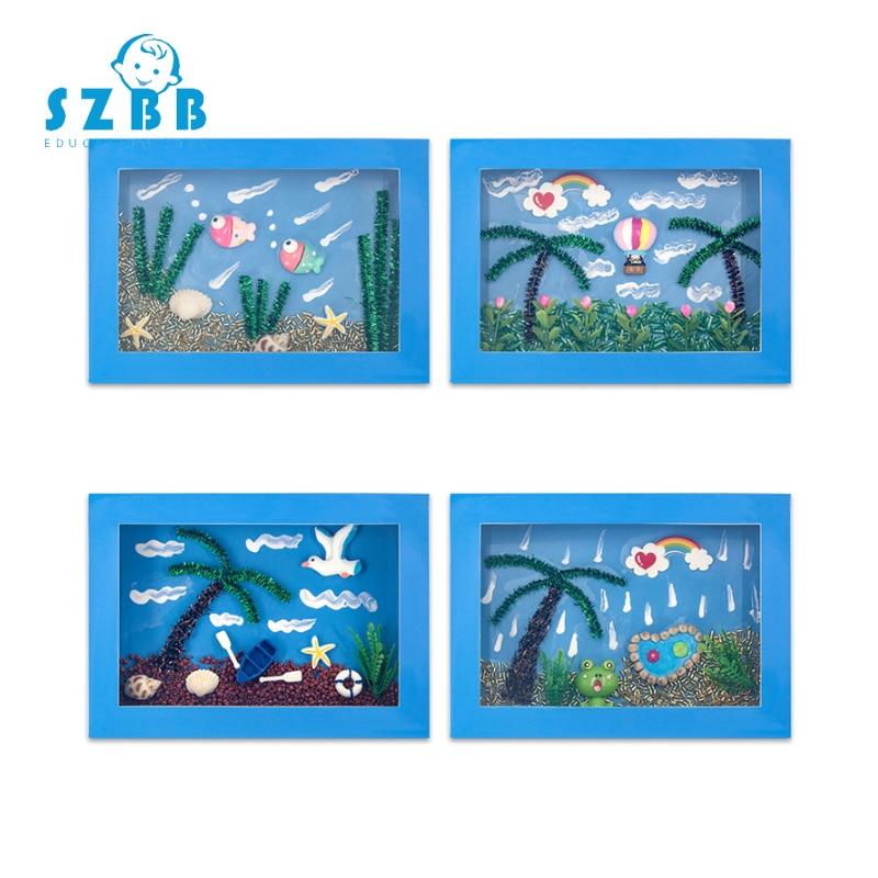 Sz Steam DIY Creative 3D Marine Belt Photo Frame Paste Painting Children Handmade Creative DIY Children's Gift Educational Toys