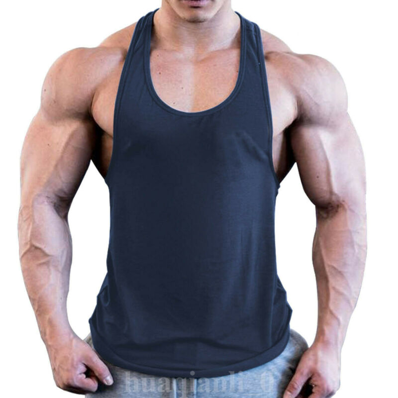 Men Gym Muscle Sleeveless Shirt Tank Top Bodybuilding Sport Fitness Workout Vest Summer Men Vest Solid Color Men Tops