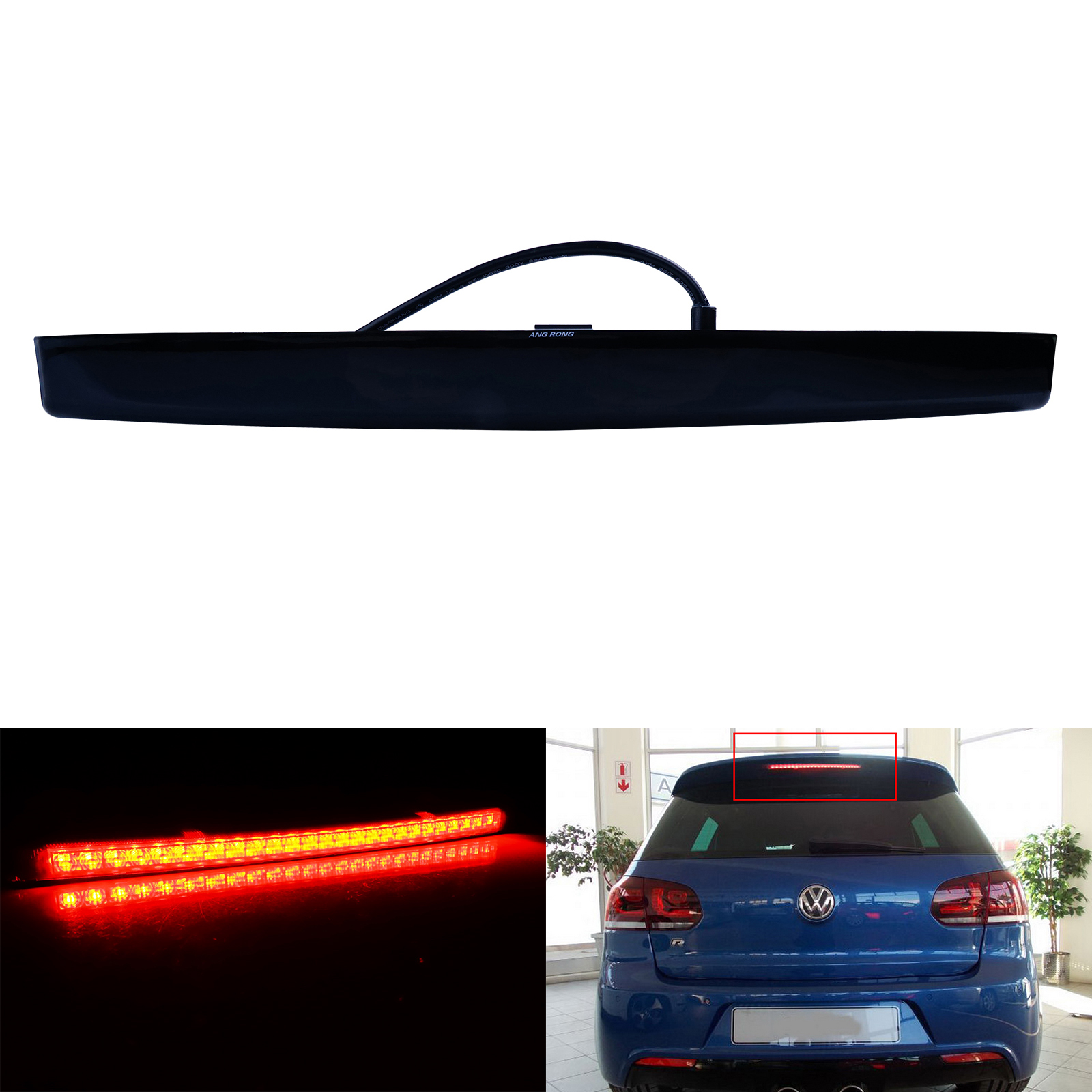 ANGRONG 1x Black Lens <font><b>LED</b></font> High Level Third Brake Stop <font><b>Light</b></font> For <font><b>VW</b></font> <font><b>Golf</b></font> <font><b>MK5</b></font> GTI R32 2004-09 image