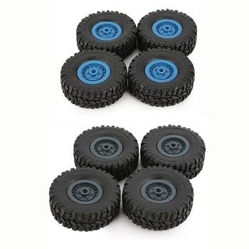 8Pcs Rubber Wheel Rim Tire Tyre for RC 1/16 Climbing Crawler Car WPL B-1/B-24/C-14/C-24/B-16,4 Pcs Deep Blue & 4Pcs Blue