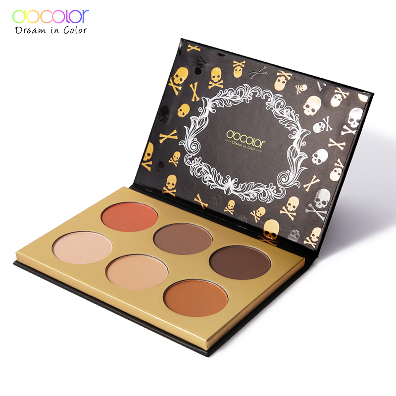 Docolor 6 Farben Highlighter Palette Make-Up Gesicht Kontur Pulver Bronzer Make-Up Rouge Profi Erröten Palette Kosmetik