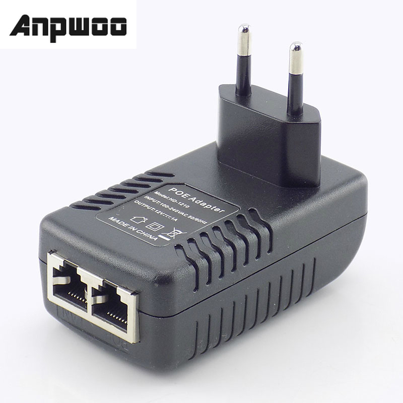 ANPWOO 12V 1A POE Injector Wall Plug POE Switch Power Supply Adapter Wireless Ethernet Adapter For IP Camera CCTV US/EU Plug G16