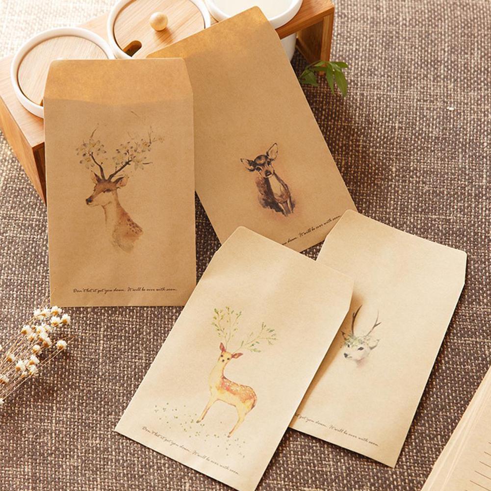 10 PCS Deer Paper Envelope Letter Paper 4 Designs Cute Style European For Card Gift Mini Envelopes Vintage Scrapbooking U0L6