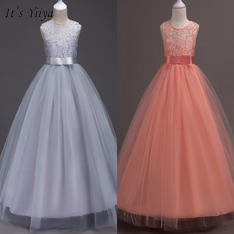 It's YiiYa Flower Girl Dresses Bow Lace Elegant Kid Party Gowns Long Pageant Communion Dresses For Girls Weddings 9999