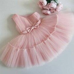 Для маленьких девочек розового цвета платье для 1 дня рождения для девочек вечерние свадебное платье-пачка для крестин; Платье принцессы дл...